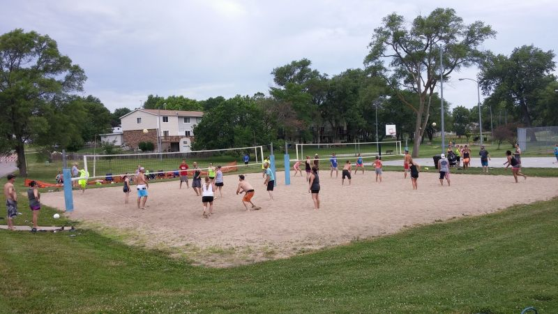 Annual sand volleyball tournaments at the park.